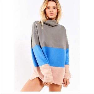 UO Blue Pink Gray Color Block Cowl Neck Pullover